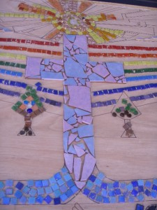 The cross was made from broken section of two beautiful coloured tiles