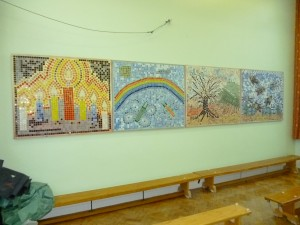 The mosaic were all made by pupils at St Josephs School