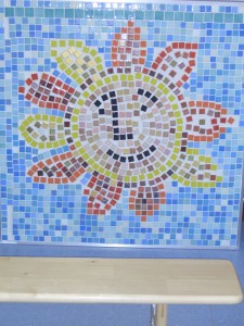 Hertford  pupils in year 1 make mosaics for the play ground