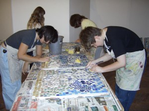 Grouting is done by the older members of the group