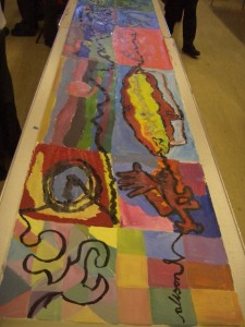 This work takes place in the hall so pupils can work on long rolls of paper