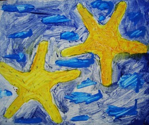 A mixture of colbolt and cyan were used before the bright yellow star fish were added